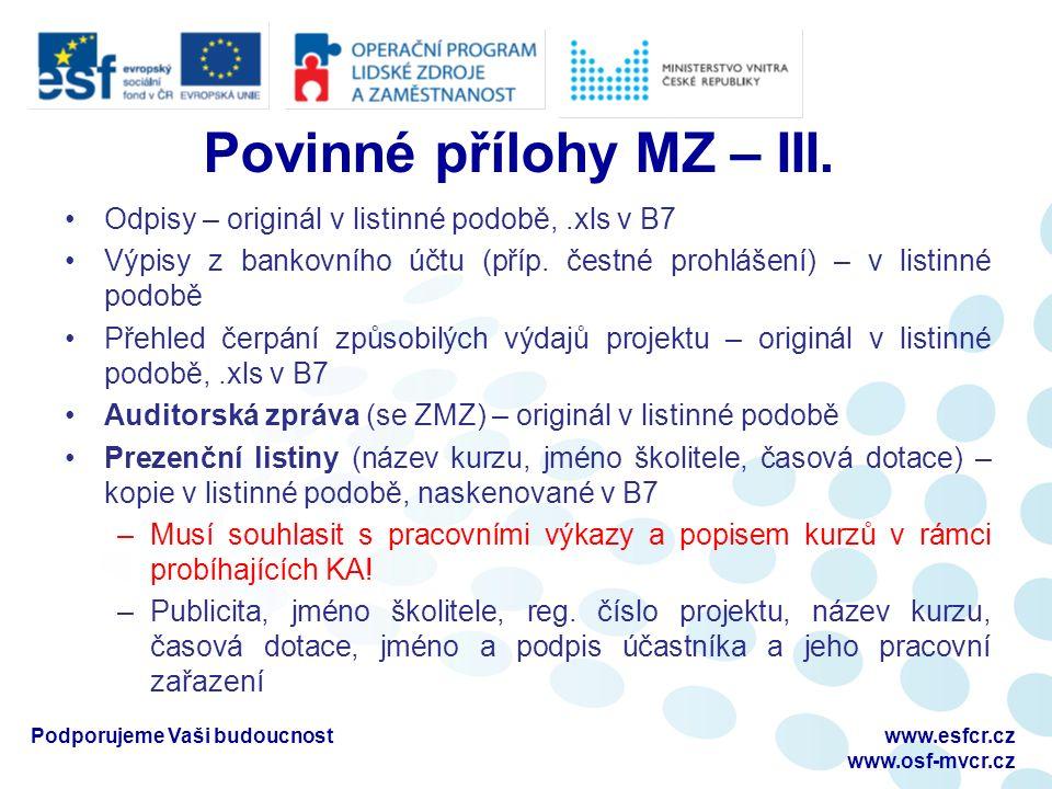 Povinné přílohy MZ – III.