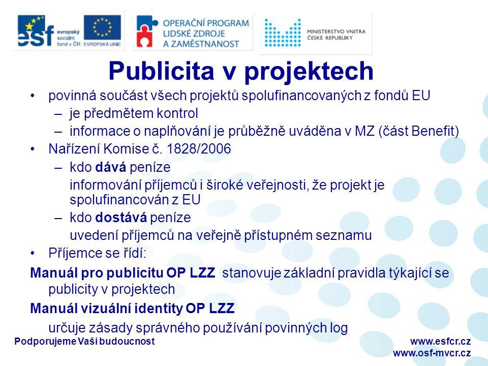 povinná součást všech projektů spolufinancovaných z fondů EU –je předmětem kontrol –informace o naplňování je průběžně uváděna v MZ (část Benefit) Nařízení Komise č.