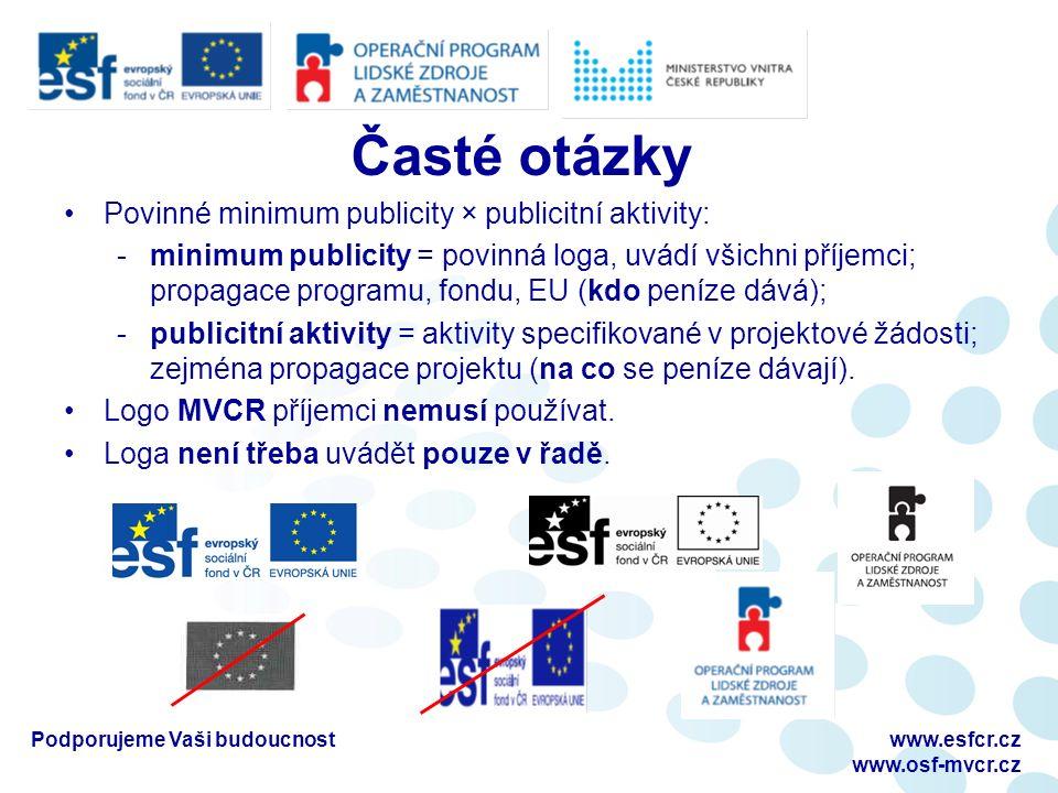 Povinné minimum publicity × publicitní aktivity: -minimum publicity = povinná loga, uvádí všichni příjemci; propagace programu, fondu, EU (kdo peníze dává); -publicitní aktivity = aktivity specifikované v projektové žádosti; zejména propagace projektu (na co se peníze dávají).