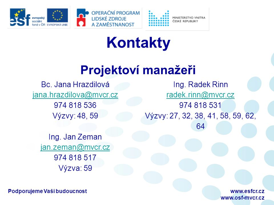 Kontakty Podporujeme Vaši budoucnostwww.esfcr.cz www.osf-mvcr.cz Projektoví manažeři Bc.