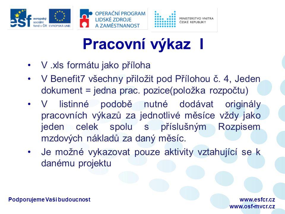 Pracovní výkaz I V.xls formátu jako příloha V Benefit7 všechny přiložit pod Přílohou č.