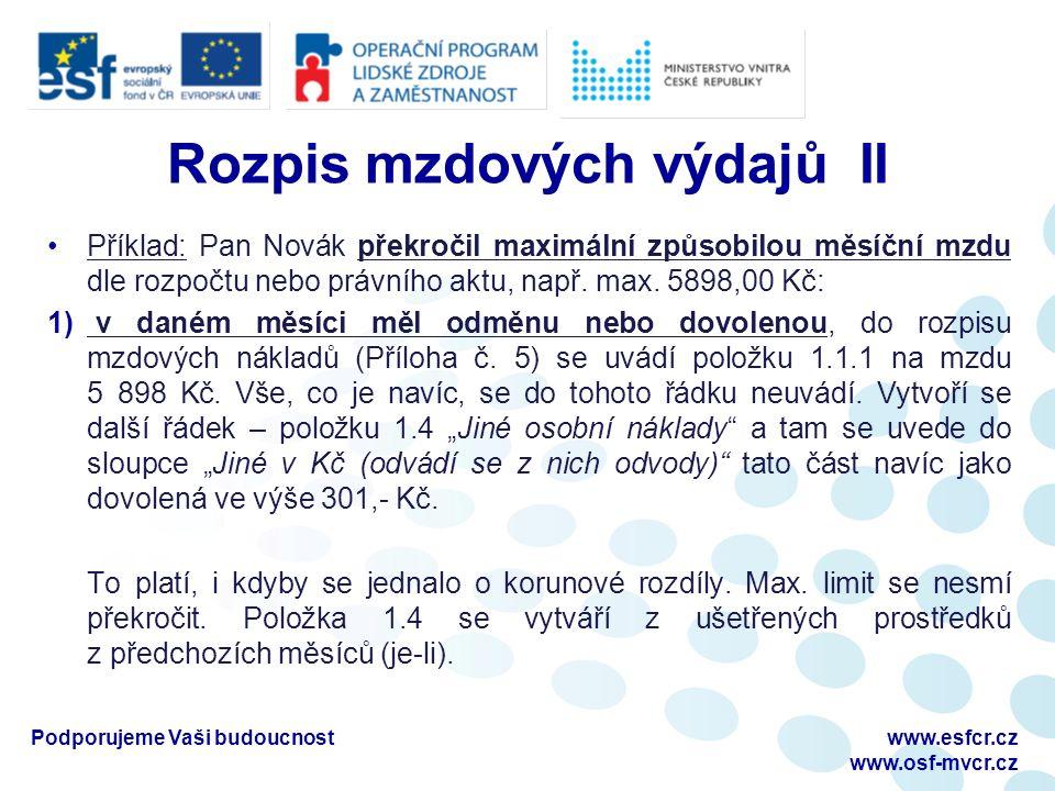 Rozpis mzdových výdajů II Příklad: Pan Novák překročil maximální způsobilou měsíční mzdu dle rozpočtu nebo právního aktu, např.