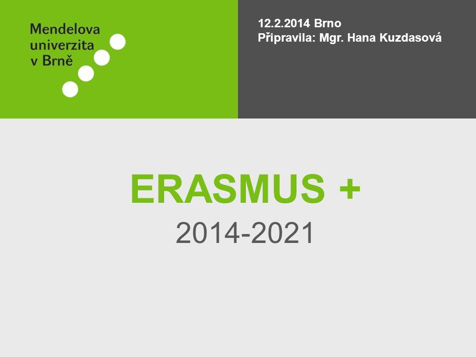 ERASMUS + 2014-2021 12.2.2014 Brno Připravila: Mgr. Hana Kuzdasová