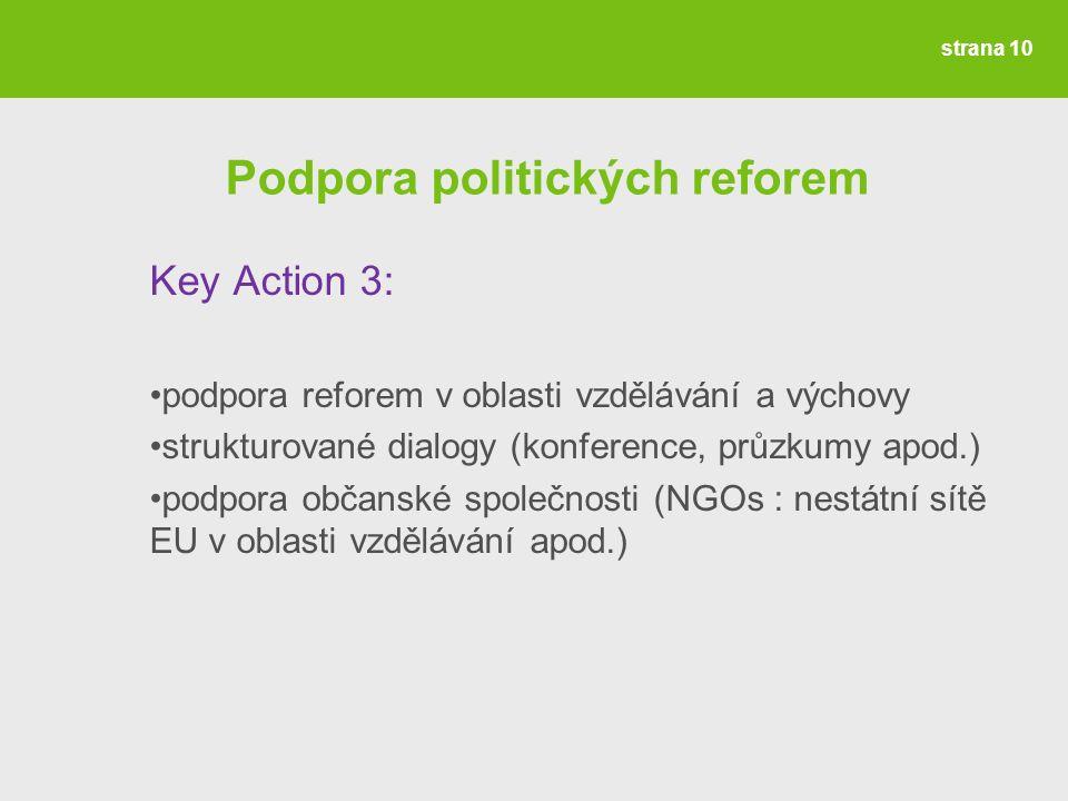 Podpora politických reforem Key Action 3: podpora reforem v oblasti vzdělávání a výchovy strukturované dialogy (konference, průzkumy apod.) podpora občanské společnosti (NGOs : nestátní sítě EU v oblasti vzdělávání apod.) strana 10