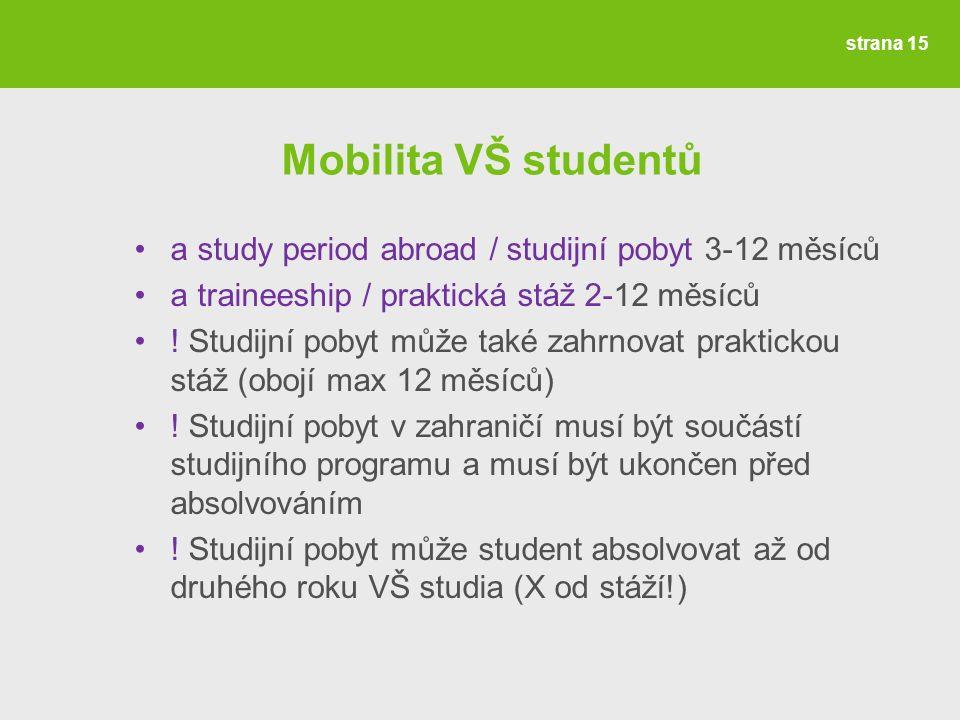 Mobilita VŠ studentů a study period abroad / studijní pobyt 3-12 měsíců a traineeship / praktická stáž 2-12 měsíců .