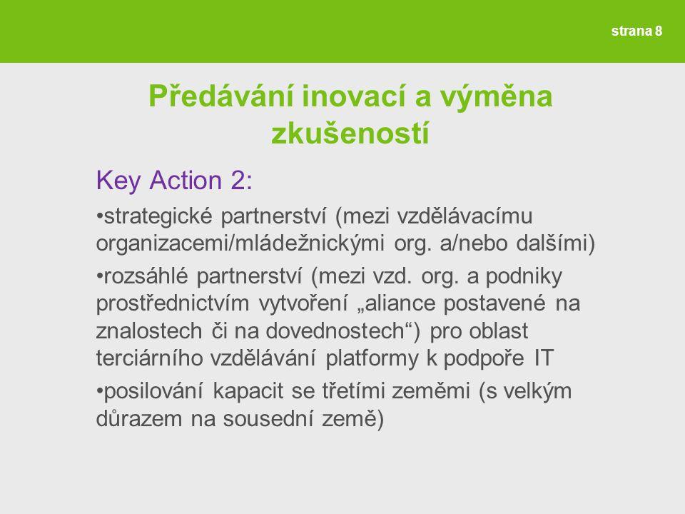 Předávání inovací a výměna zkušeností Key Action 2: strategické partnerství (mezi vzdělávacímu organizacemi/mládežnickými org.