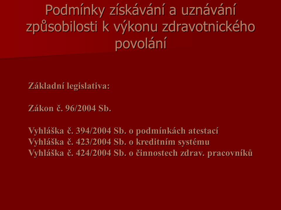 Podmínky získávání a uznávání způsobilosti k výkonu zdravotnického povolání Základní legislativa: Zákon č.
