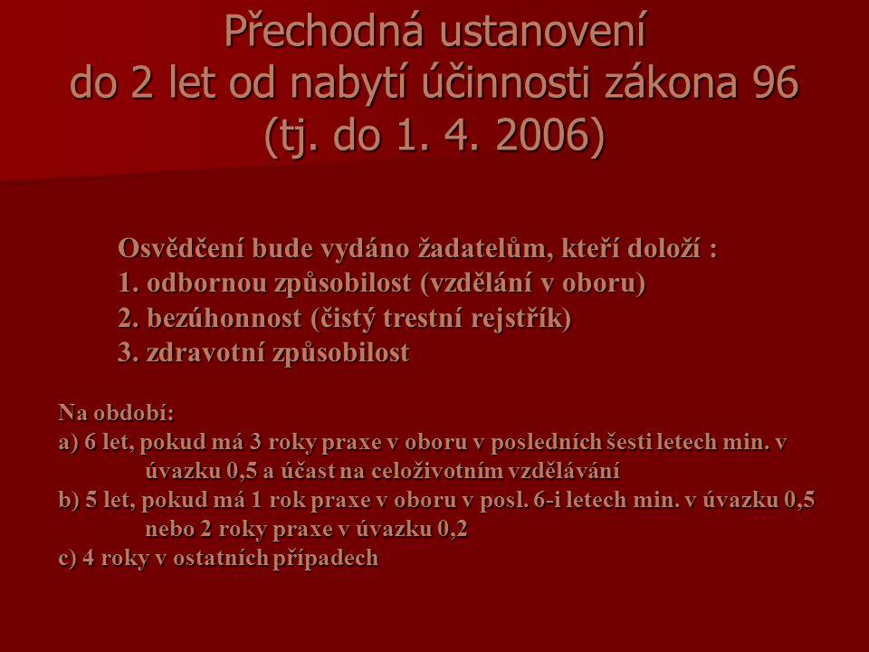 Přechodná ustanovení do 2 let od nabytí účinnosti zákona 96 (tj.