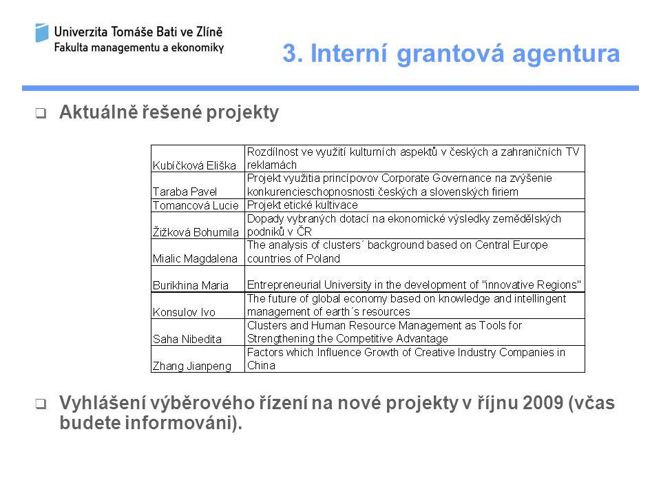 3. Interní grantová agentura  Aktuálně řešené projekty  Vyhlášení výběrového řízení na nové projekty v říjnu 2009 (včas budete informováni).