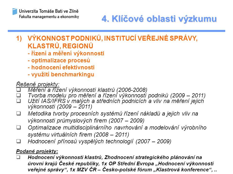 4. Klíčové oblasti výzkumu 1)VÝKONNOST PODNIKŮ, INSTITUCÍ VEŘEJNÉ SPRÁVY, KLASTRŮ, REGIONŮ - řízení a měření výkonnosti - optimalizace procesů - hodno