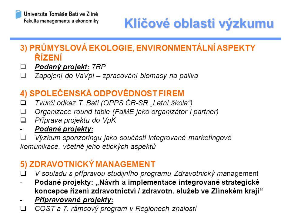 Klíčové oblasti výzkumu 3) PRŮMYSLOVÁ EKOLOGIE, ENVIRONMENTÁLNÍ ASPEKTY ŘÍZENÍ  Podaný projekt: 7RP  Zapojení do VaVpI – zpracování biomasy na paliva 4) SPOLEČENSKÁ ODPOVĚDNOST FIREM  Tvůrčí odkaz T.