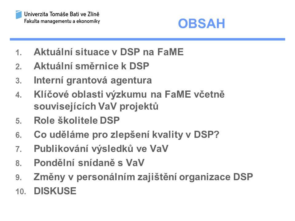 OBSAH 1.Aktuální situace v DSP na FaME 2. Aktuální směrnice k DSP 3.
