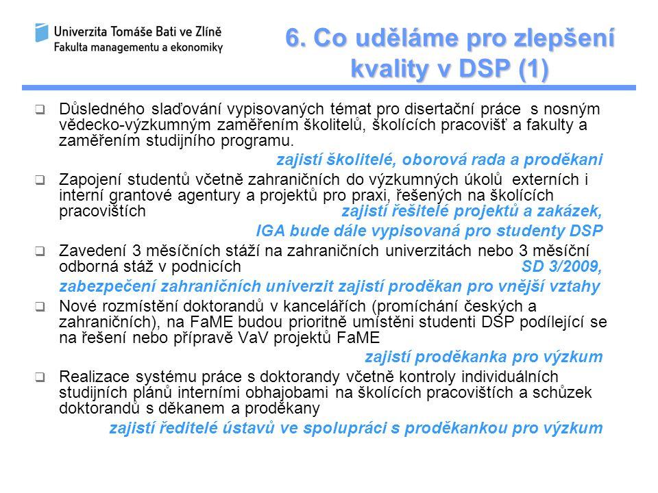 6. Co uděláme pro zlepšení kvality v DSP (1)  Důsledného slaďování vypisovaných témat pro disertační práce s nosným vědecko-výzkumným zaměřením školi