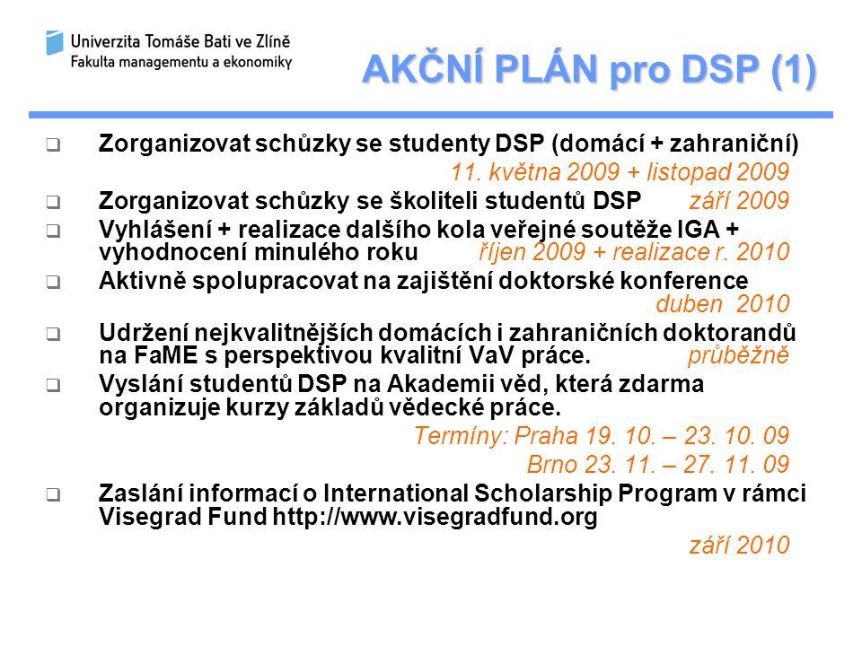 AKČNÍ PLÁN pro DSP (1)  Zorganizovat schůzky se studenty DSP (domácí + zahraniční) 11.
