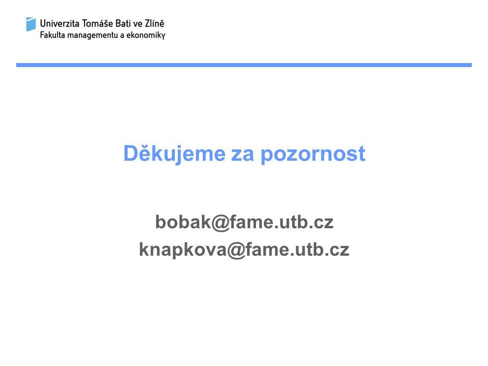 Děkujeme za pozornost bobak@fame.utb.cz knapkova@fame.utb.cz