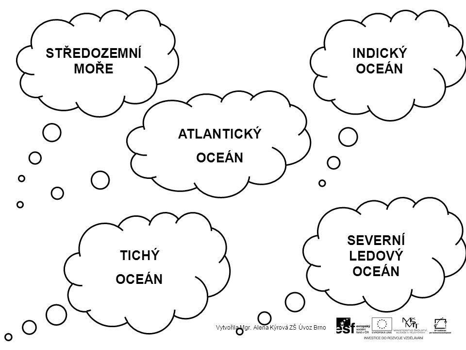 STŘEDOZEMNÍ MOŘE INDICKÝ OCEÁN ATLANTICKÝ OCEÁN TICHÝ OCEÁN SEVERNÍ LEDOVÝ OCEÁN Vytvořila Mgr.