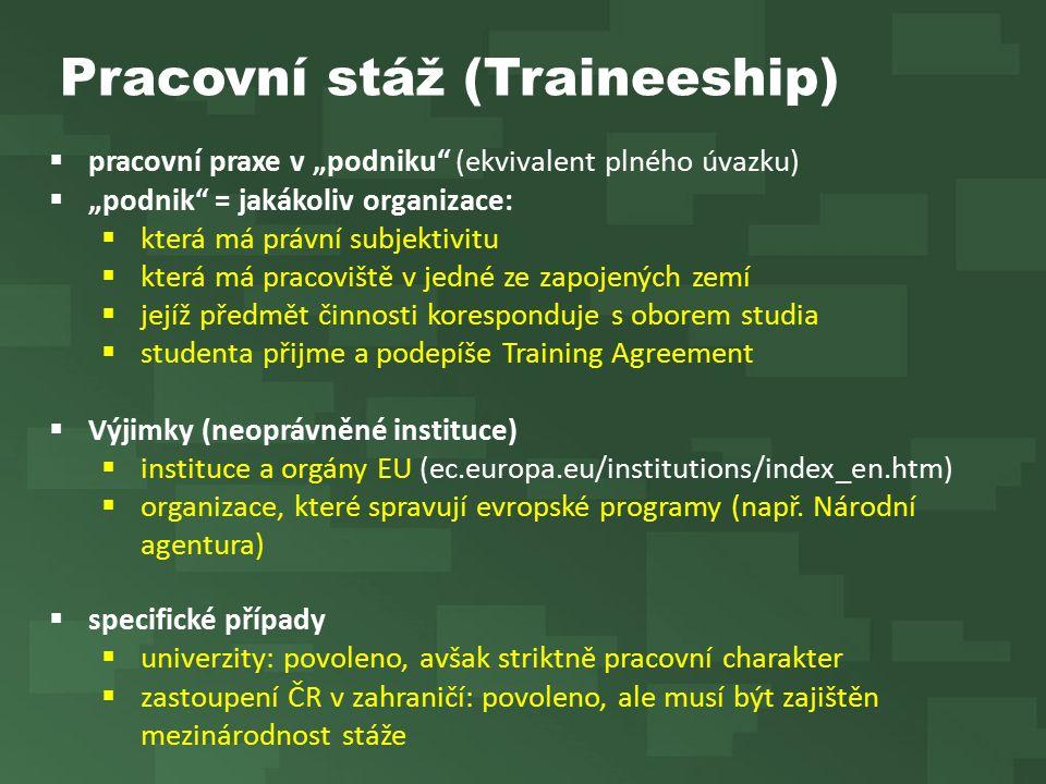 """Pracovní stáž (Traineeship)  pracovní praxe v """"podniku (ekvivalent plného úvazku)  """"podnik = jakákoliv organizace:  která má právní subjektivitu  která má pracoviště v jedné ze zapojených zemí  jejíž předmět činnosti koresponduje s oborem studia  studenta přijme a podepíše Training Agreement  Výjimky (neoprávněné instituce)  instituce a orgány EU (ec.europa.eu/institutions/index_en.htm)  organizace, které spravují evropské programy (např."""