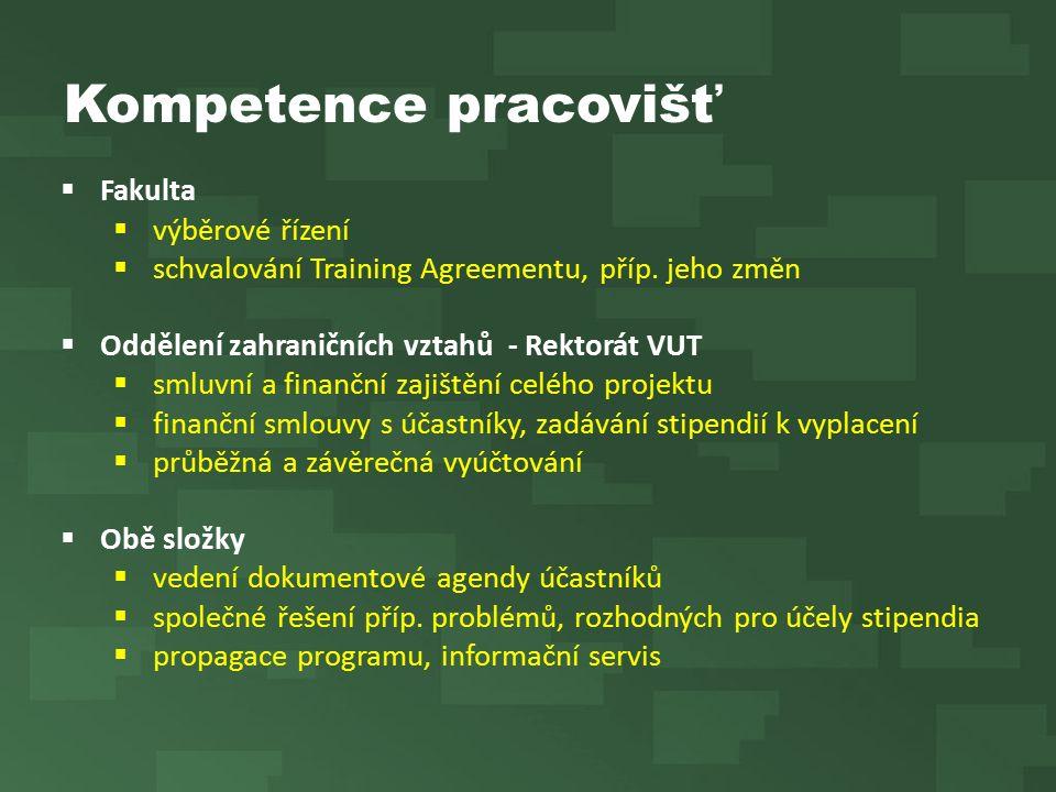 Kompetence pracovišť  Fakulta  výběrové řízení  schvalování Training Agreementu, příp. jeho změn  Oddělení zahraničních vztahů - Rektorát VUT  sm