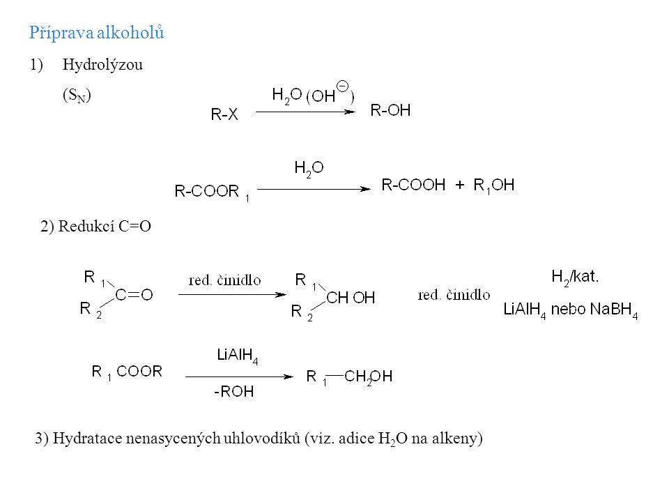 Příprava alkoholů 1)Hydrolýzou (S N ) 2) Redukcí C=O 3) Hydratace nenasycených uhlovodíků (viz. adice H 2 O na alkeny)