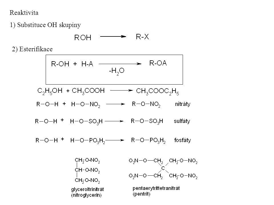 Reaktivita 1) Substituce OH skupiny 2) Esterifikace