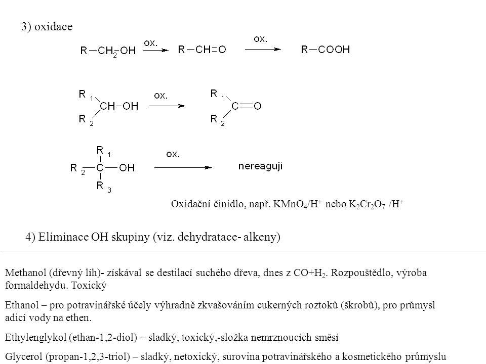 3) oxidace Oxidační činidlo, např. KMnO 4 /H + nebo K 2 Cr 2 O 7 /H + 4) Eliminace OH skupiny (viz. dehydratace- alkeny) Methanol (dřevný líh)- získáv