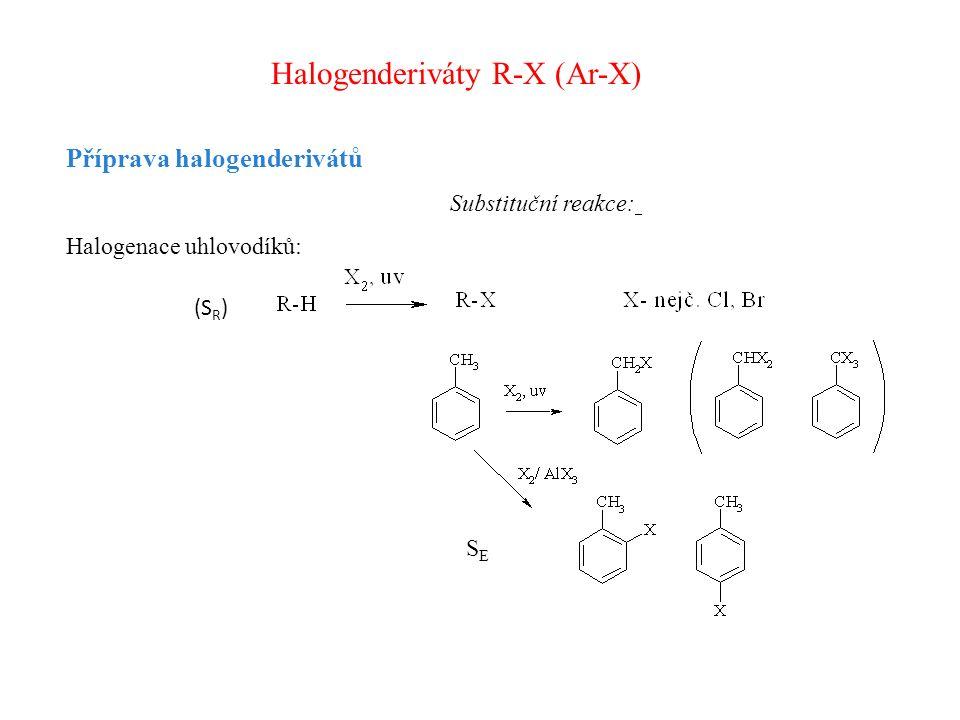 Halogenderiváty R-X (Ar-X) Příprava halogenderivátů Substituční reakce: Halogenace uhlovodíků: (S R ) SESE
