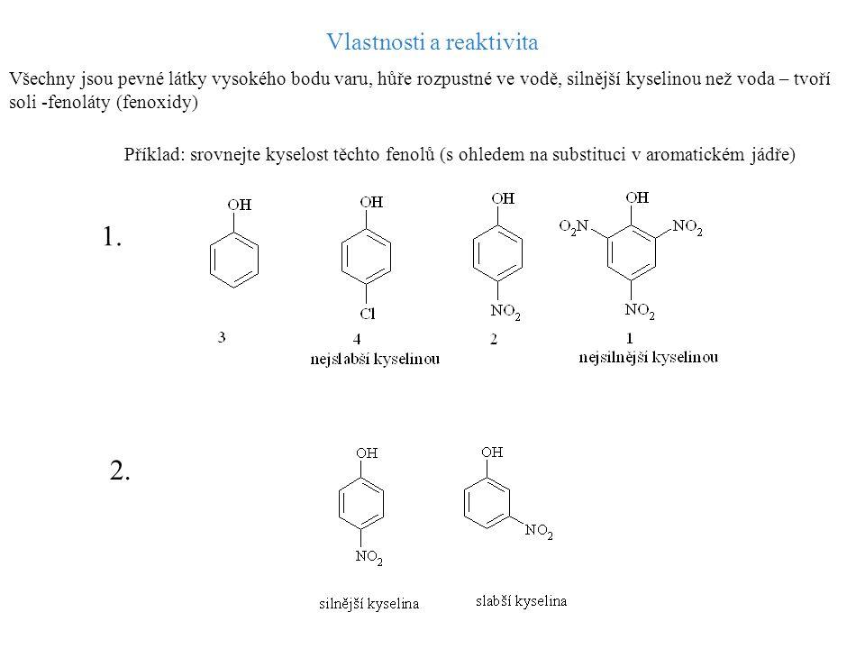 Vlastnosti a reaktivita Všechny jsou pevné látky vysokého bodu varu, hůře rozpustné ve vodě, silnější kyselinou než voda – tvoří soli -fenoláty (fenox