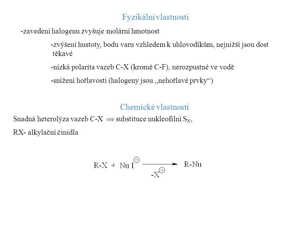 Fyzikální vlastnosti -zavedení halogenu zvyšuje molární hmotnost -zvýšení hustoty, bodu varu vzhledem k uhlovodíkům, nejnižší jsou dost těkavé -nízká