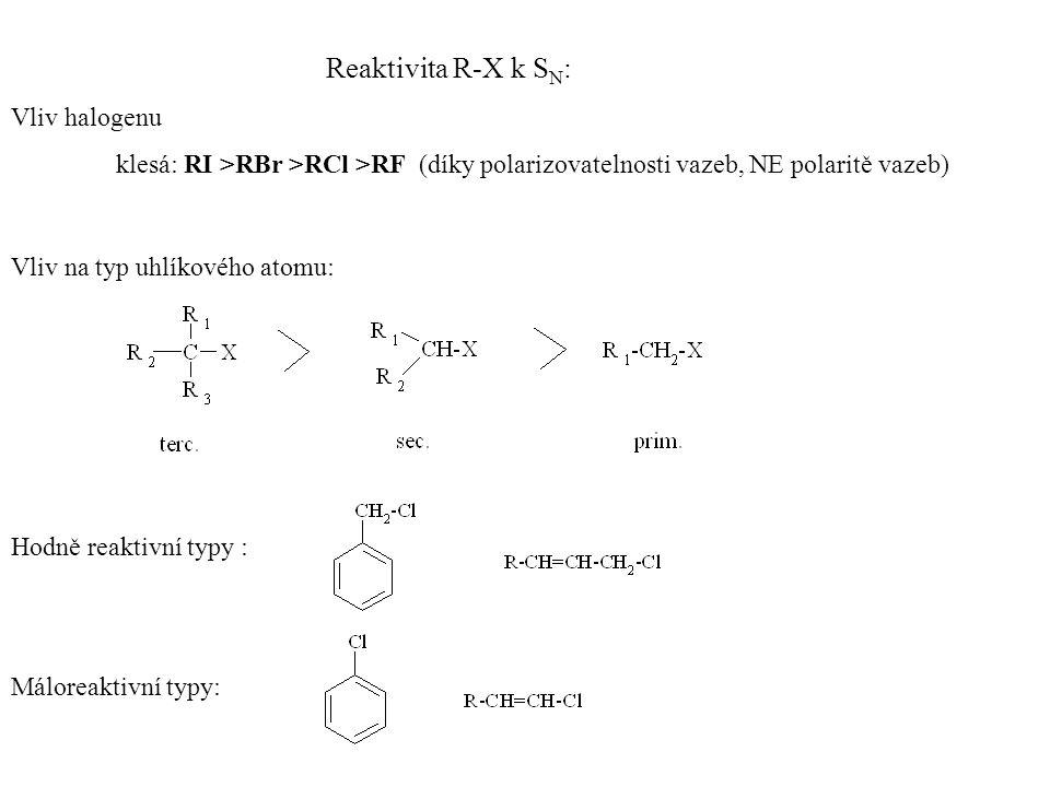 Reaktivita R-X k S N : Vliv halogenu klesá: RI >RBr >RCl >RF (díky polarizovatelnosti vazeb, NE polaritě vazeb) Vliv na typ uhlíkového atomu: Hodně reaktivní typy : Máloreaktivní typy: