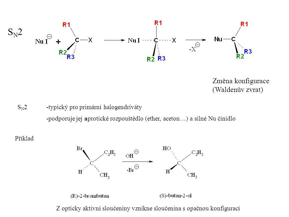 SN2SN2 Změna konfigurace (Waldenův zvrat) S N 2-typický pro primární halogendriváty -podporuje jej aprotické rozpouštědlo (ether, aceton…) a silné Nu činidlo Příklad Z opticky aktivní sloučeniny vznikne sloučenina s opačnou konfigurací