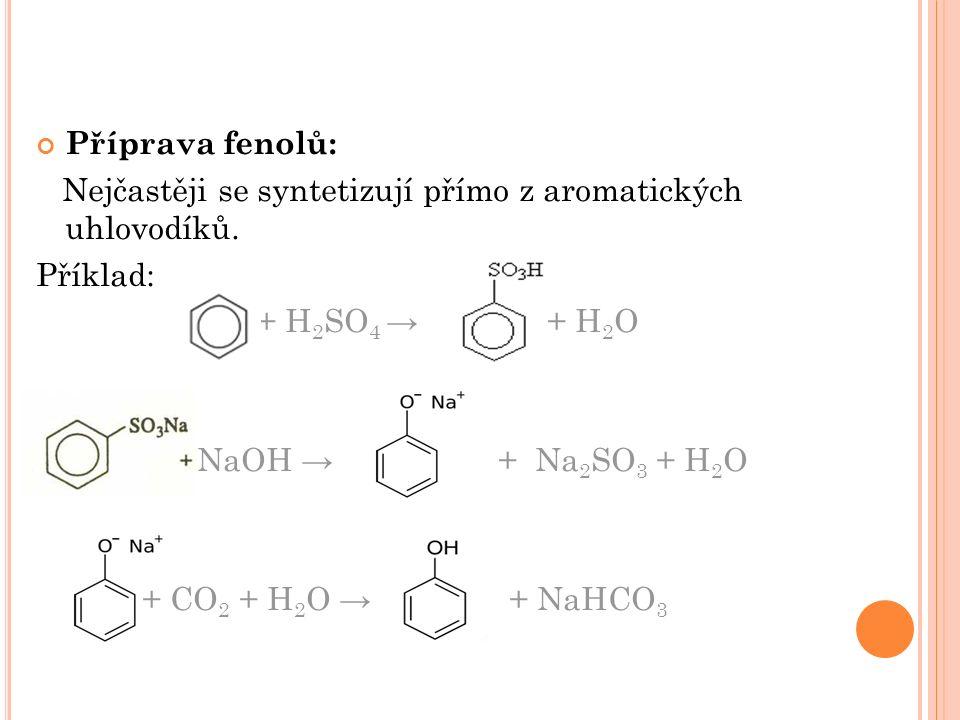 Příprava fenolů: Nejčastěji se syntetizují přímo z aromatických uhlovodíků.