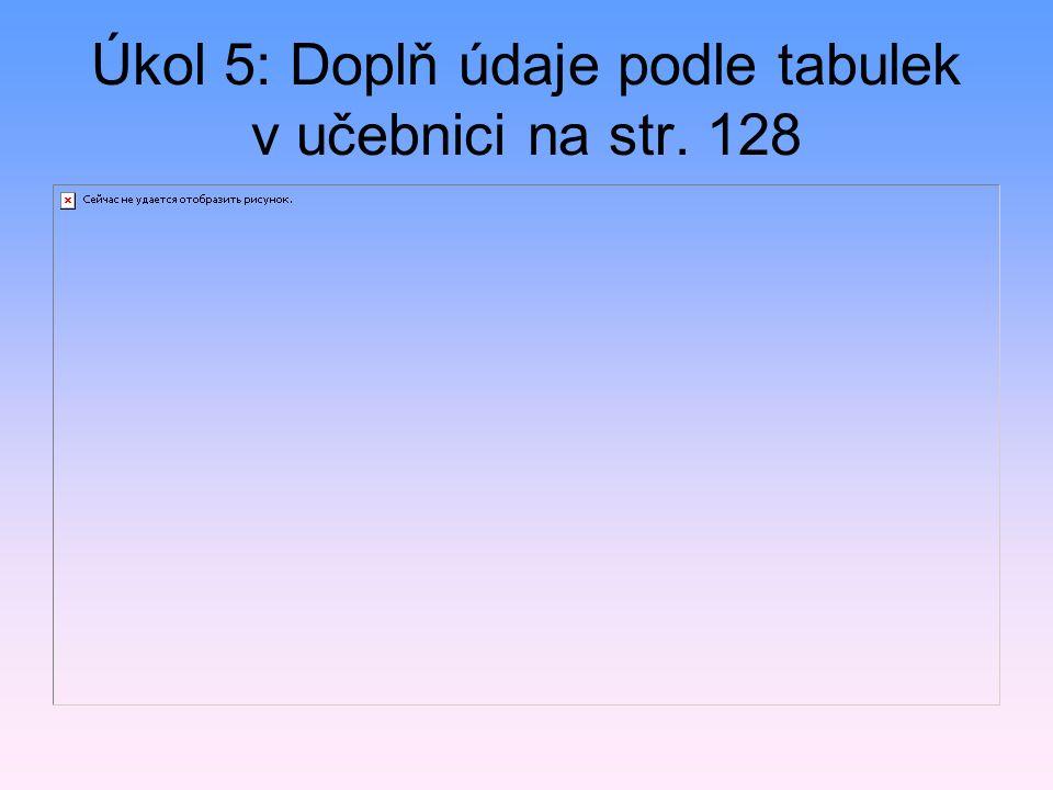 Úkol 5: Doplň údaje podle tabulek v učebnici na str. 128