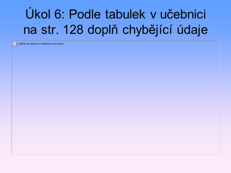 Úkol 6: Podle tabulek v učebnici na str. 128 doplň chybějící údaje