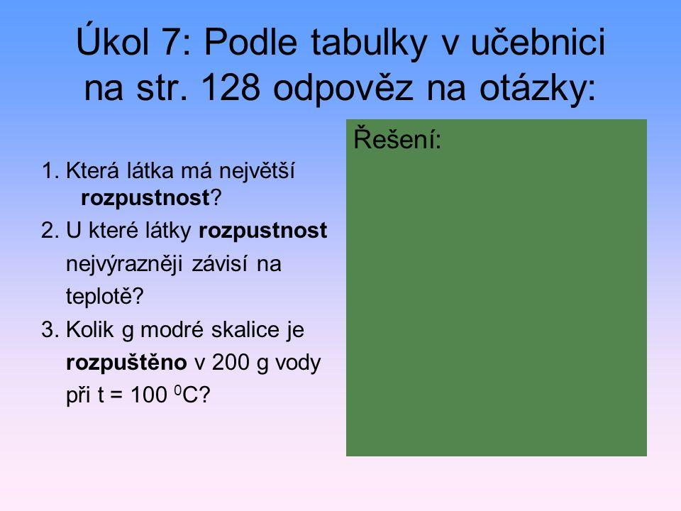 Úkol 7: Podle tabulky v učebnici na str. 128 odpověz na otázky: 1. Která látka má největší rozpustnost? 2. U které látky rozpustnost nejvýrazněji závi