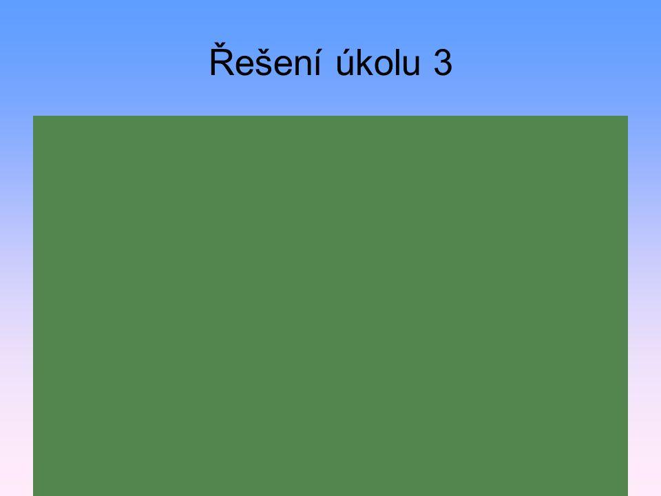 Řešení úkolu 3 m = 82g, V = 10,5cm 3, ρ = ? ρ = m/V ρ = 82g /10,5cm 3 ρ = 7,81 g/cm 3 Těleso je vyrobeno z oceli.