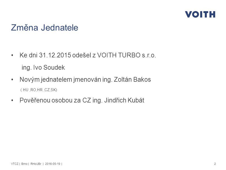 Změna Jednatele Ke dni 31.12.2015 odešel z VOITH TURBO s.r.o.