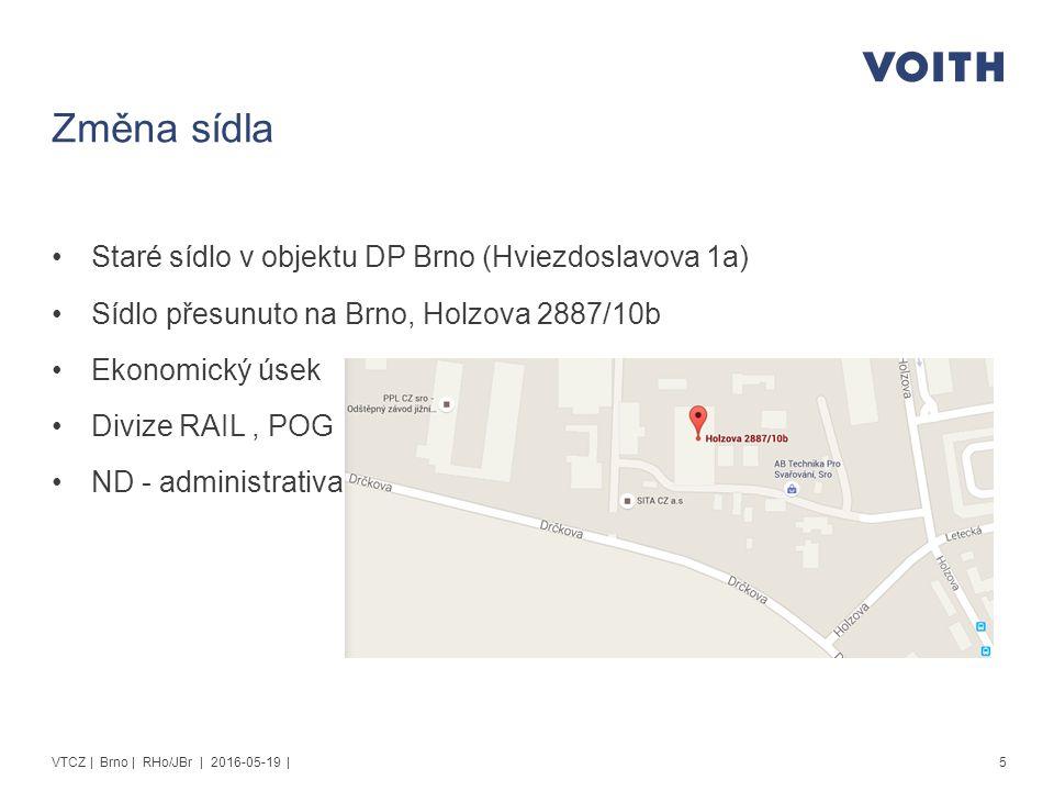 Servisní středisko pro divizi CV Staré sídlo v objektu DP Brno (Hviezdoslavova 1a) Sídlo přesunuto Vysoké Mýto, Slunečná 140 Sklad náhradních dílů Servisní dílna Technická podpora 6VTCZ | Brno | RHo/JBr | 2016-05-19 |
