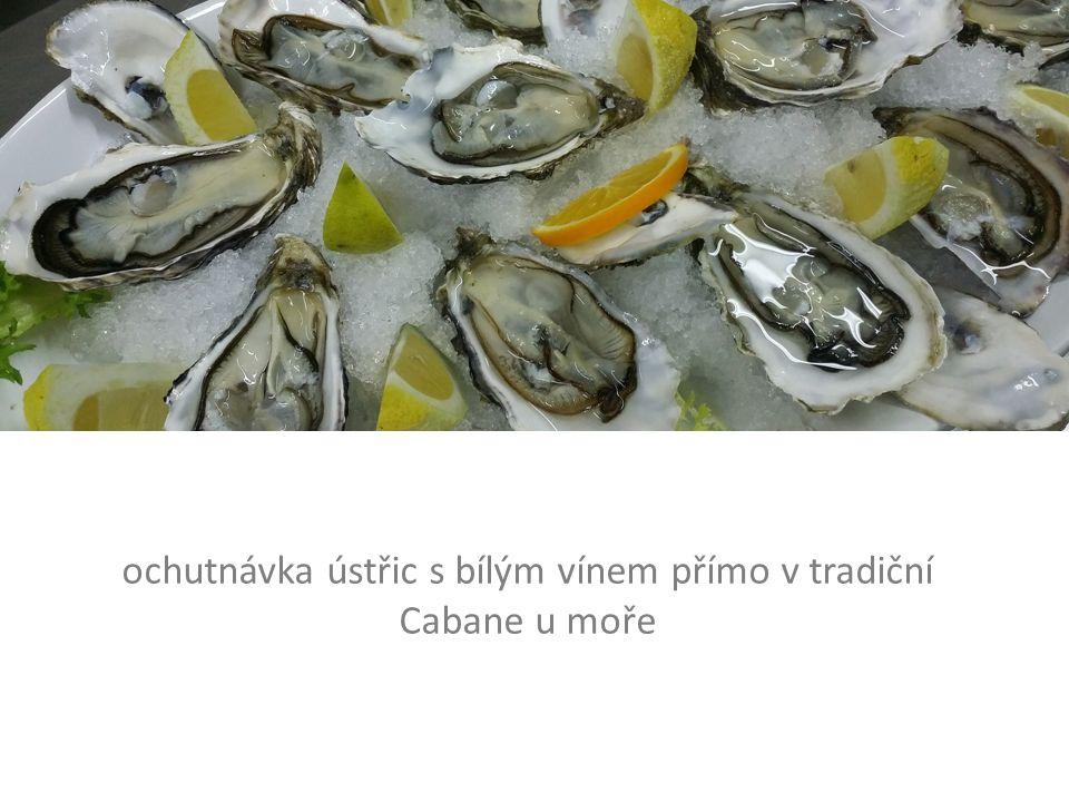 ochutnávka ústřic s bílým vínem přímo v tradiční Cabane u moře