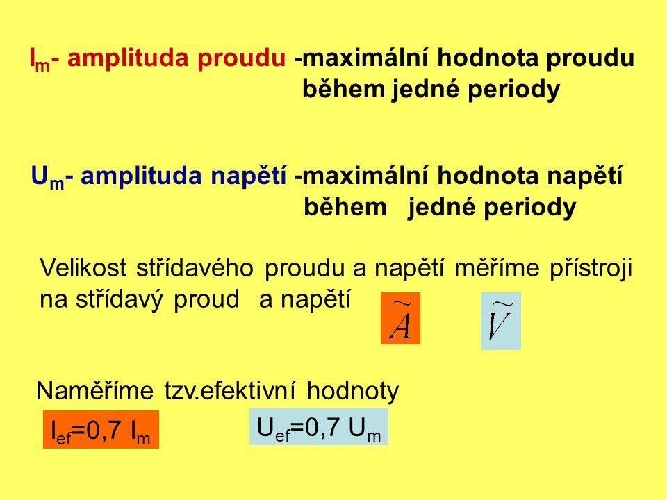 I m - amplituda proudu -maximální hodnota proudu během jedné periody U m - amplituda napětí -maximální hodnota napětí během jedné periody Velikost střídavého proudu a napětí měříme přístroji na střídavý proud a napětí Naměříme tzv.efektivní hodnoty I ef =0,7 I m U ef =0,7 U m