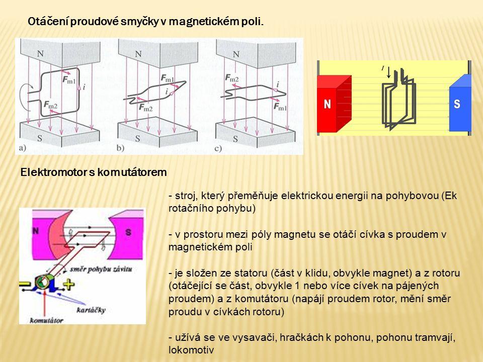 Otáčení proudové smyčky v magnetickém poli. Elektromotor s komutátorem - stroj, který přeměňuje elektrickou energii na pohybovou (Ek rotačního pohybu)