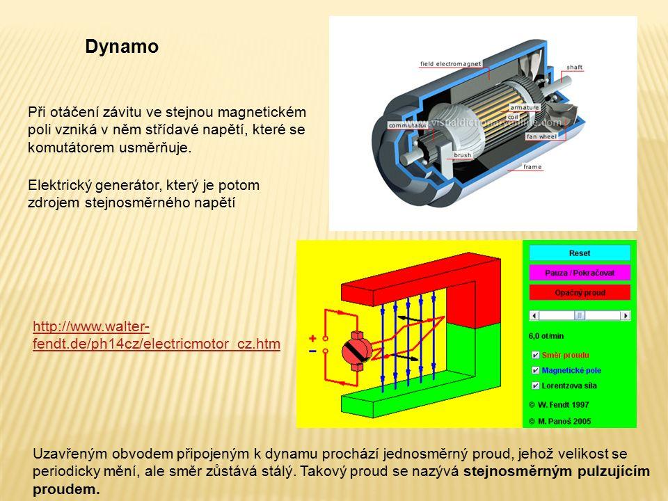 Dynamo http://www.walter- fendt.de/ph14cz/electricmotor_cz.htm Elektrický generátor, který je potom zdrojem stejnosměrného napětí Při otáčení závitu v