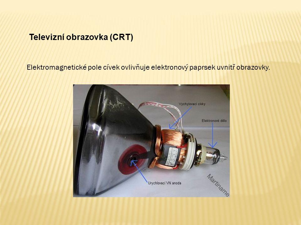 Televizní obrazovka (CRT) Elektromagnetické pole cívek ovlivňuje elektronový paprsek uvnitř obrazovky.