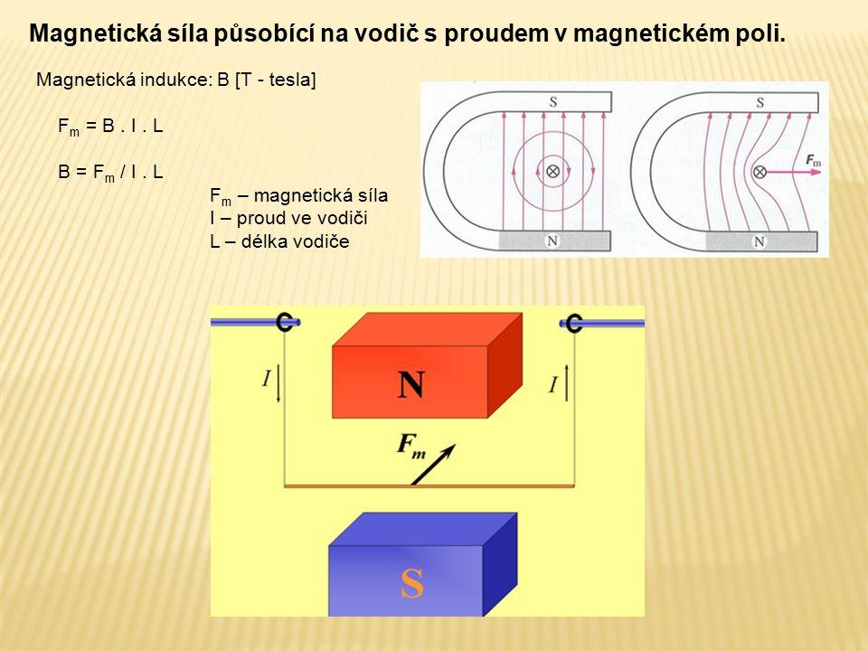Magnetická síla působící na vodič s proudem v magnetickém poli. Magnetická indukce: B [T - tesla] F m = B. I. L B = F m / I. L F m – magnetická síla I