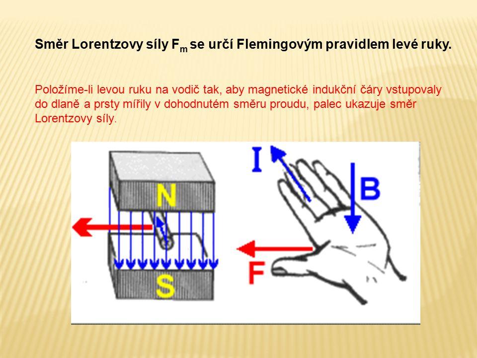 Směr Lorentzovy síly F m se určí Flemingovým pravidlem levé ruky. Položíme-li levou ruku na vodič tak, aby magnetické indukční čáry vstupovaly do dlan