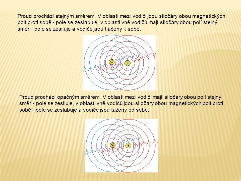Proud prochází stejným směrem. V oblasti mezi vodiči jdou siločáry obou magnetických polí proti sobě - pole se zeslabuje, v oblasti vně vodičů mají si