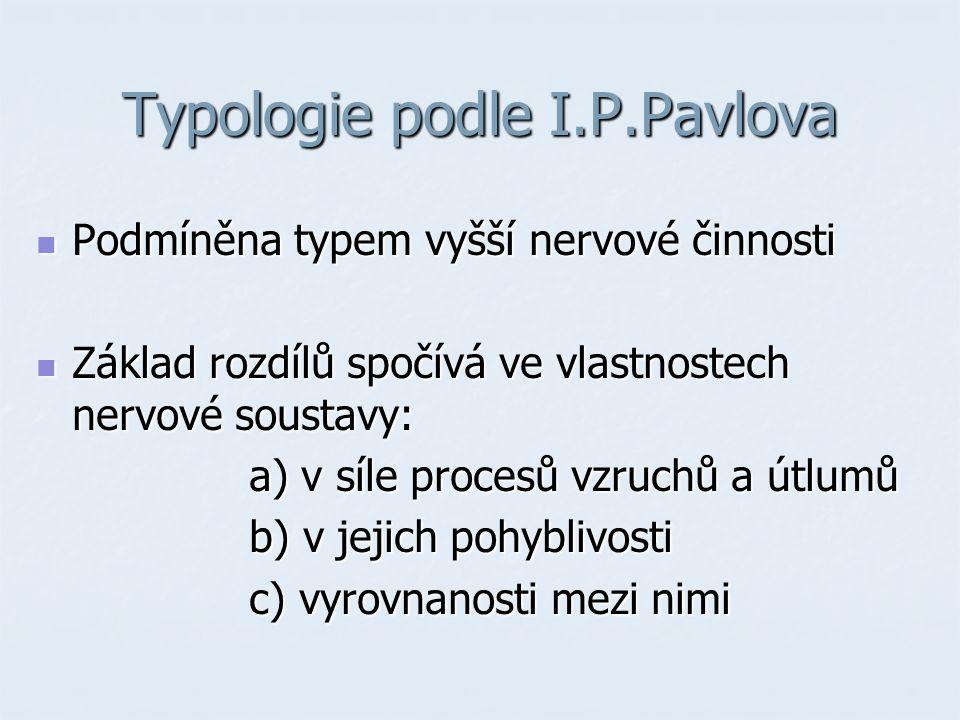 Typologie podle I.P.Pavlova Podmíněna typem vyšší nervové činnosti Podmíněna typem vyšší nervové činnosti Základ rozdílů spočívá ve vlastnostech nervové soustavy: Základ rozdílů spočívá ve vlastnostech nervové soustavy: a) v síle procesů vzruchů a útlumů a) v síle procesů vzruchů a útlumů b) v jejich pohyblivosti b) v jejich pohyblivosti c) vyrovnanosti mezi nimi c) vyrovnanosti mezi nimi