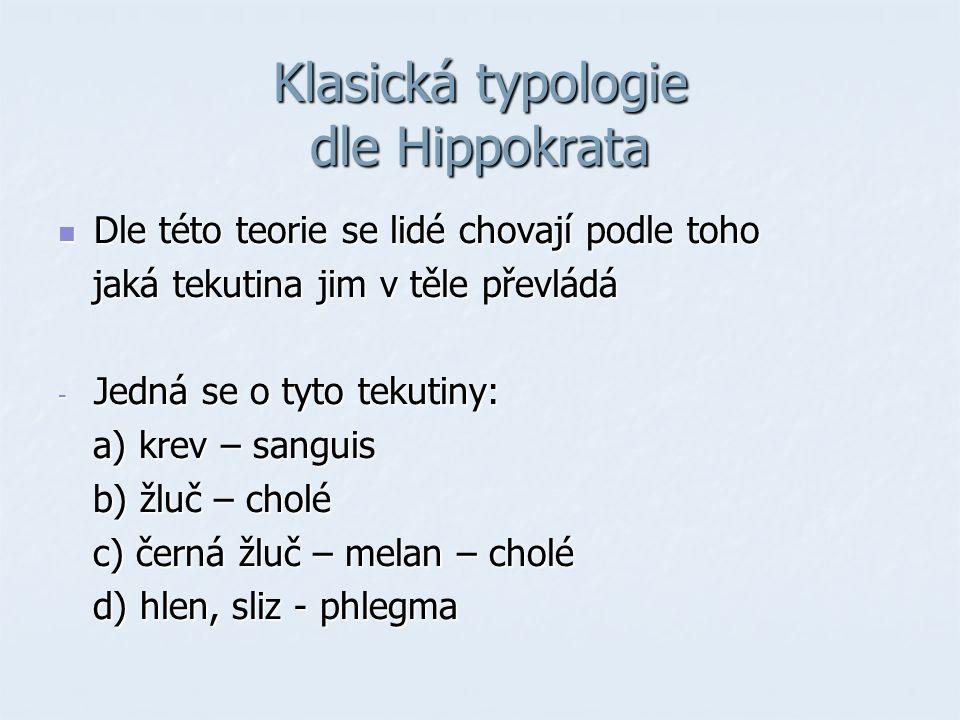 Klasická typologie dle Hippokrata Dle této teorie se lidé chovají podle toho Dle této teorie se lidé chovají podle toho jaká tekutina jim v těle převl