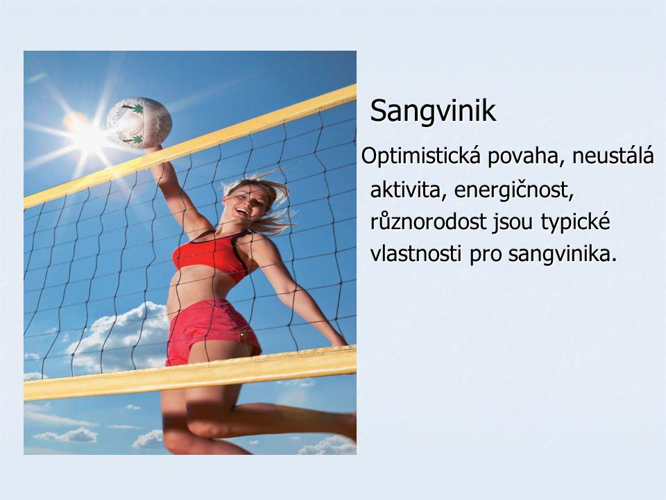 Sangvinik Sangvinik Optimistická povaha, neustálá Optimistická povaha, neustálá aktivita, energičnost, aktivita, energičnost, různorodost jsou typické