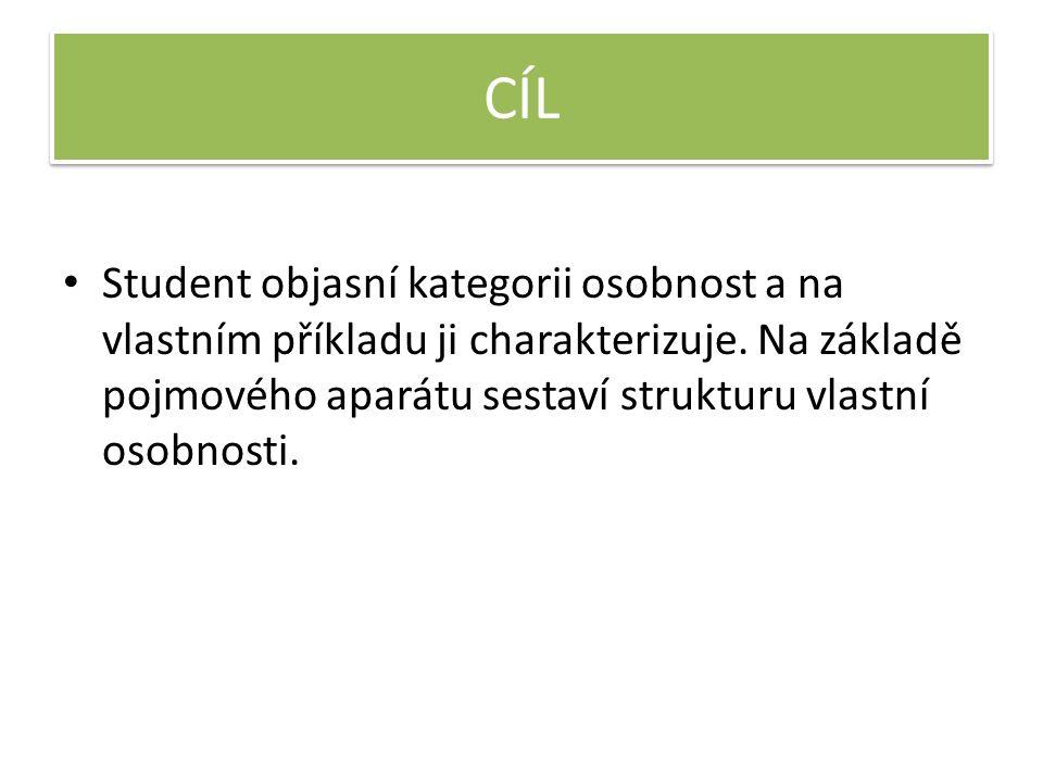 CÍL Student objasní kategorii osobnost a na vlastním příkladu ji charakterizuje.
