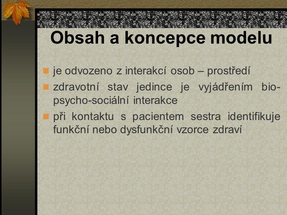 Obsah a koncepce modelu je odvozeno z interakcí osob – prostředí zdravotní stav jedince je vyjádřením bio- psycho-sociální interakce při kontaktu s pa